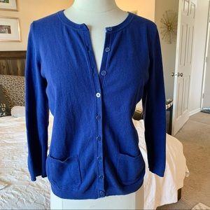 Talbots blue Pima cotton cardigan sz MP